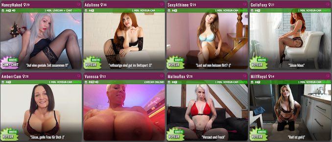 Große Auswahl an möglichen Livecam Dates